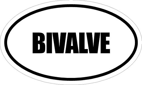 "Any and All Graphics Bivalve 6"" Printed White Vinyl Oval Euro Style Decal Sticker"