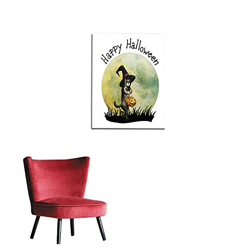 longbuyer Art Decor Decals Stickers Halloween Card Happy cat with Witch hat and Pumpkin Hand Drawn Watercolor Illustration Mural 32