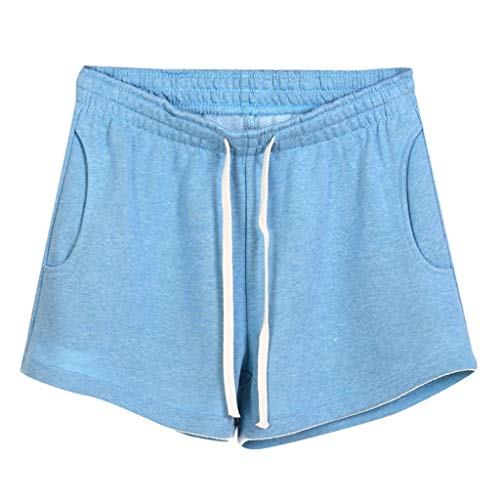 (Women Short Pants, JOYFEEL ❤️ Ladies Cotton Linen Casual Elastic Waist Pants Drawstring Solid Summer Walking Shorts)