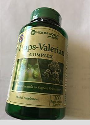 Vitamin World Hops Valerian Complex Herbal Supplement 100 Rapid Release Capsules