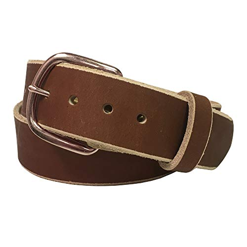 Jean Belt, Light Copper Crazy Horse Water Buffalo Leather, 9 Ounce - Antique Copper Buckle - Handmade in the USA! By Exos - Size: 42 (Distressed Leather Buckle)