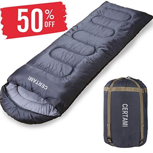 CERTAMI Sleeping Bag -Envelope Lightweight Portable Waterproof,for Adult 3 Season Outdoor Camping Hiking. (Dark Grey/Left Zip)