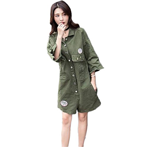 [もうほうきょう] デニムロンパース レディース 夏服新型 貼布 ルージュ プリント  ショートパンツ 女 ゆったり 中袖 ファッションコート