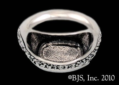14k White Gold Ashaman Dragon ™ Signet Ring Officially Licensed Robert Jordan Wheel of Time ® Jewelry by Raven Blackwood