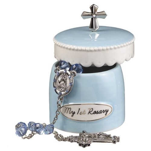 Blue My First Rosary for Boy Elegant Ceramic Keepsake Box from Grasslands - Cross Blank