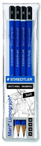 Staedtler Lumograph Graphite Drawing & Sketching Pencils, Soft Degree Set of 4 (100WP4) by Staedtler