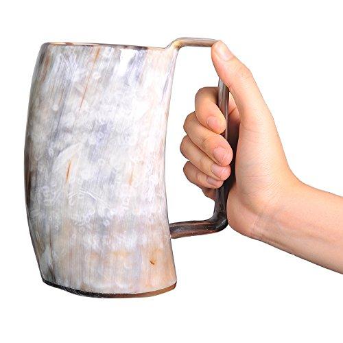 Marycrafts Buffalo Horn Mug Beer Beaker Stein, Tumbler Viking Drinking Cup with Handle Medieval Renaissance