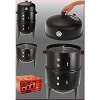 Räuchertonne schwarz XXL Smoking Barrel Balkon Garten ✔ Deckel ✔ rund ✔ stehend grillen ✔ Grillen mit Holzkohle