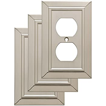 Franklin Brass W35218V-SN-C Classic Architecture Single Duplex Wall Plate/Switch Plate/Cover (3 Pack), Satin Nickel