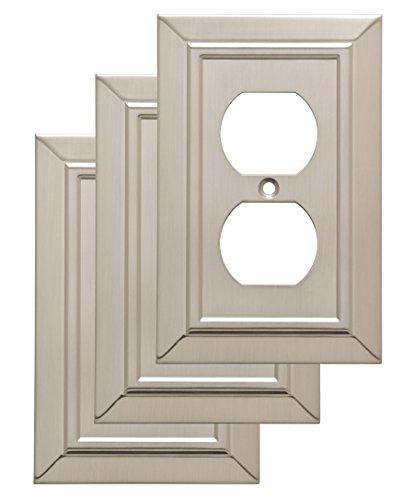 Duplex Outlet Triple Toggle Switchplate - Franklin Brass W35218V-SN-C Classic Architecture Single Duplex Wall Plate/Switch Plate/Cover (3 Pack), Satin Nickel