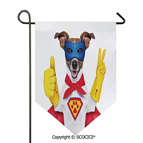 Easy Clean Durable Charming 28x40in Garden Flag Super Puppy Hero Dog in Cape and Mask Costume Humor Funny Cute Picture Decorative,Red Yellow Royal Blue Double Sided Printed,Flag pole NOT included -