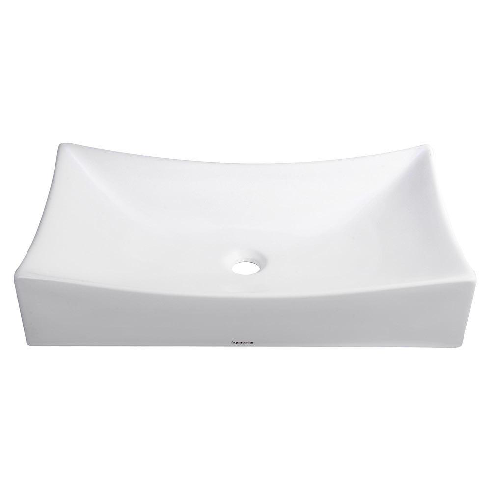 Bathroom Porcelain Vessel Sink White & Chrome Pop Up Drain New Basin US Opt Square Rectangle