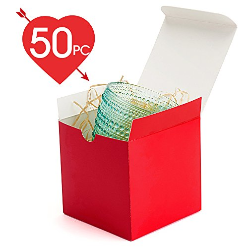 MESHA Red Boxes 50 Pack 4 x 4 x 4 Inches, Paper Gift Boxes with Lids for Gifts, Mugs, Cupcake Boxes