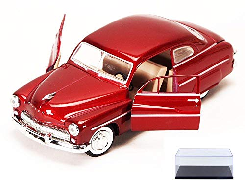 Diecast Car & Display Case Package - 1949 Mercury Eight Coupe, Red - Motormax 73225 - 1/24 Scale Diecast Model Toy Car w/Display Case