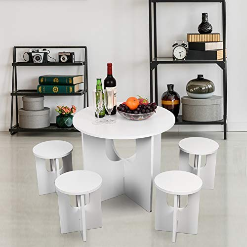 Sundale Indoor Children's Table and Chair Set One Table Four Stools Space Saving Bistro Set Perfect for Kids Conversation, Gaming, Meals, 5 Piece Set, Easy Assembly, White