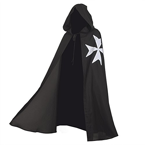 - BLESSUME Medieval Templar Knight Cloak Hospitaller Hooded Robe Halloween Costume Cape (Black 1)