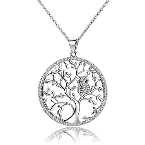 Silver Sterling Owl Pendant - GDDX 925 Sterling Silver Owl Tree of Life Pendant Necklace with 18 Inch Chain