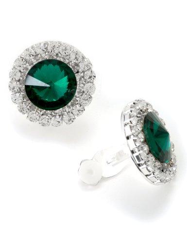 Silver Crystal Rhinestones Round Clip Earrings with Round Cut Emerald Rhinestone