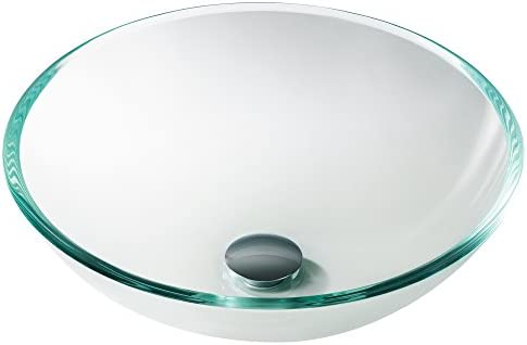 Kraus GV-100 Crystal Clear Glass Vessel Bathroom Sink