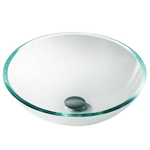 Frosted Glass Countertop - Kraus GV-100 Crystal Clear Glass Vessel Bathroom Sink