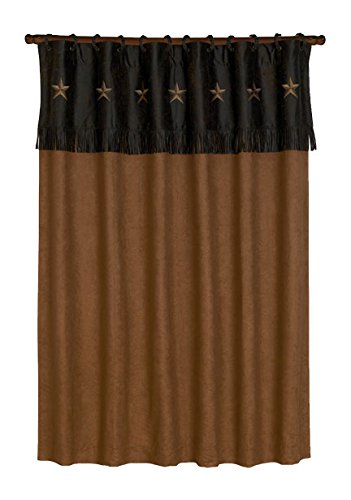 - HiEnd Accents Embroidered Western Star Curtain, 60 by 84-Inch, Chocolate