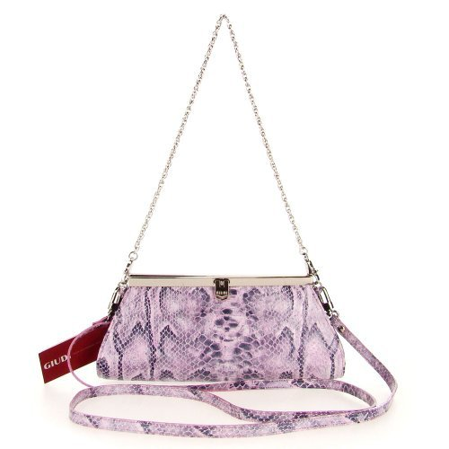 GUIDI Italian Made Lilac Patent Snakeskin Embossed Leather Evening Bag Clutch ()