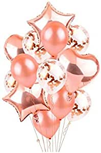 14Pcs Balloons Creative Design Rose Golden Party Decorations