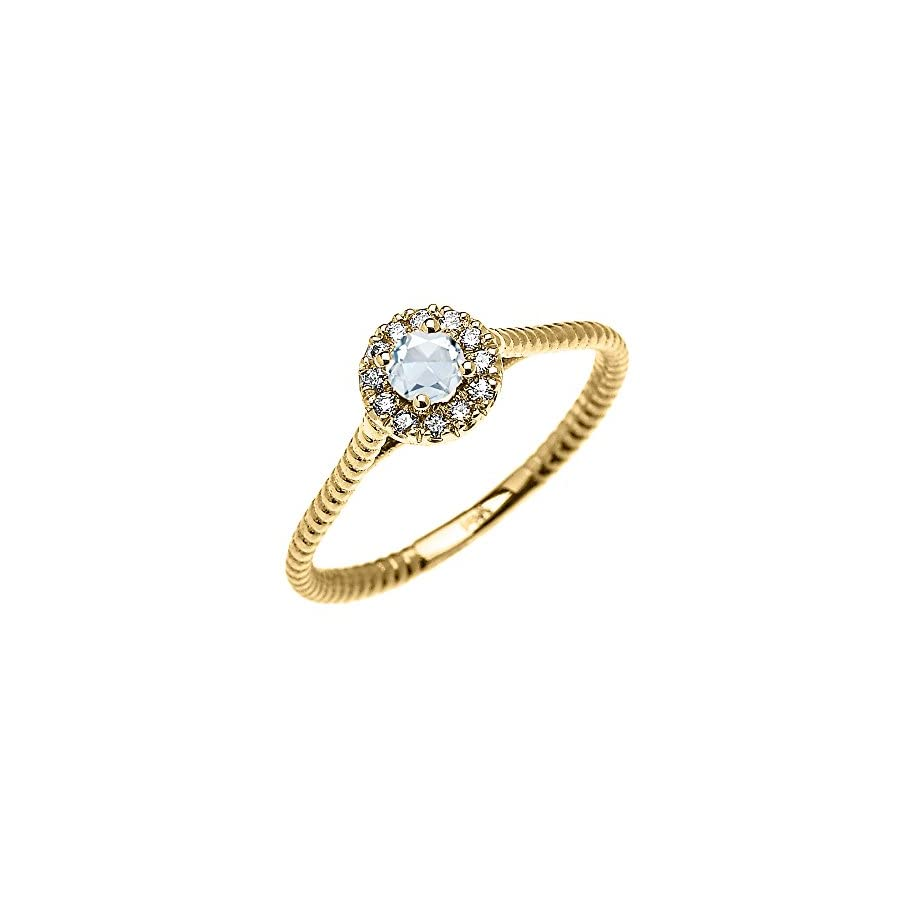 10k Yellow Gold Dainty Halo Diamond and Solitaire Aquamarine Rope Design Promise Ring