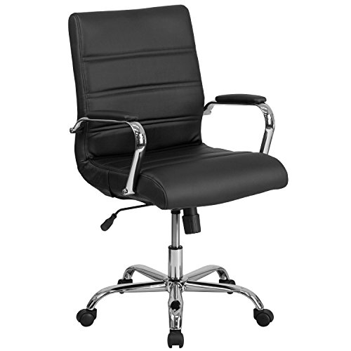 Back Swivel Mid Contemporary (Flash Furniture Mid-Back Black Leather Executive Swivel Chair with Chrome Base and Arms)