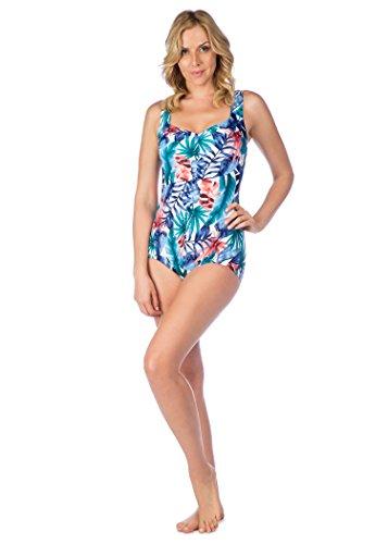 Maxine Of Hollywood Women's Palmetto Printed Spa Chlorine Resistant Girl Leg Swimsuit, Multi, - Resistant Fabric Chlorine