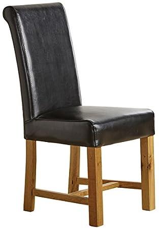 Oak Furniture Land Silla de Comedor con Patas de Roble Macizo para ...