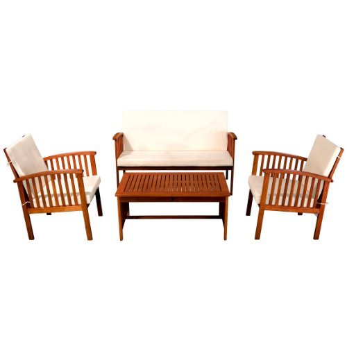 Christopher Knight Home 237012 Deal Furniture Beckley 4-pcs Outdoor Seating Set, 4 Piece, Natural Stained (Walmart Replacement Furniture Cushions Outdoor)