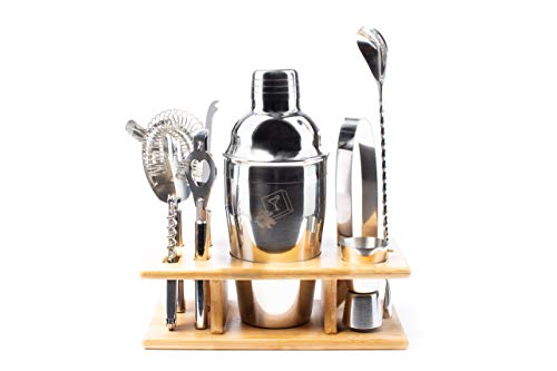 - Eight Piece Stainless Steel Cocktail Shaker Set by DragonEra Products. Perfect gift for men, cocktail lovers, hosts, housewarming gatherings and holidays. Everything you need to entertain!