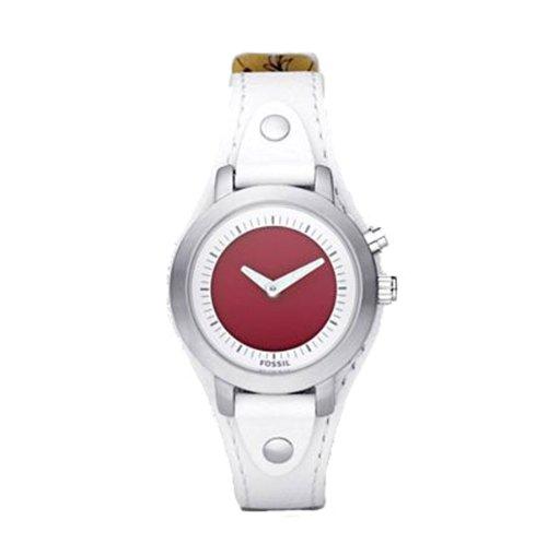 Fossil Women's BG2200 White Leather Strap Pink Kaleido Analog-Digital Dial Watch