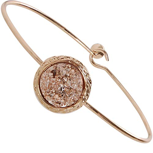 Humble Chic Simulated Druzy Cuff - Stackable Simple Thin Wire Gold-Tone Bangle Bracelets for Women, Gold-Tone, Metallic