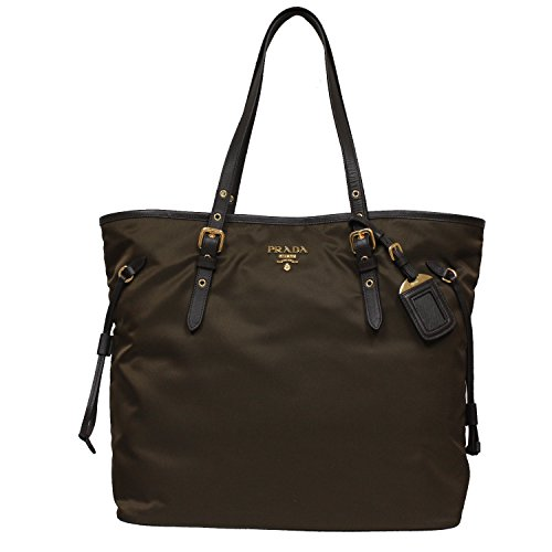 Prada Tessuto Saffian Brown Nylon Leather Shopping Tote Shoulder Bag Large BR4997 (Nylon Prada Bag)
