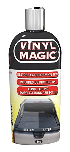 Vinyl Magic: Plastic and Trim Restorer, Dye-Free Formula Shines and Darkens  Worn Out Plastic, Vinyl and Rubber Surfaces, Protects Cars from Rain, Salt