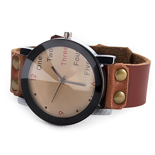 Womens-Unisex-Fashion-English-Letter-Watch-Retro-Brown-Leather-Strap