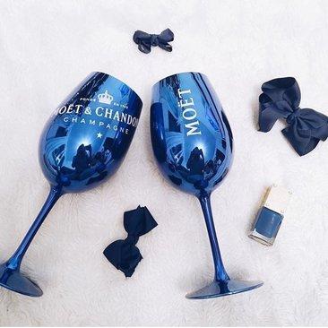 Mo/ët /& Chandon Champagne Glass Goblet Navy Blue x 1