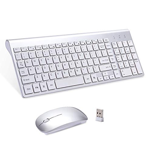 Wireless Keyboard Mouse, Sanhoton 2.4G Ultra Thin Portable Wireless Keyboard and Mouse Combo Compatible with Windows, Mac, Android Tablet (Silver)