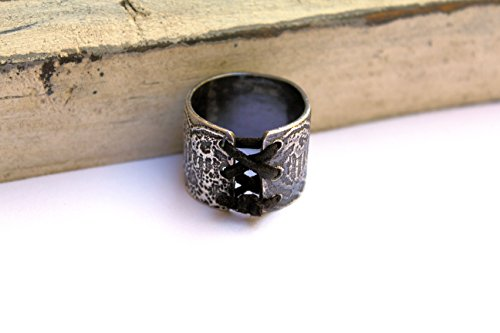 Sterling silver and black leather lace imprinted tie up corset ring (Imprinted Leather)