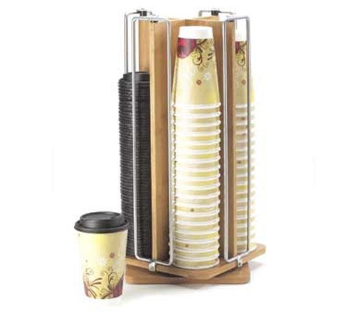 Cal-Mil 1468 Bamboo and Wire Revolving Cup/Lid Organizer