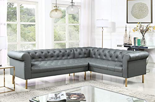 Iconic Home Noah Right Facing Sectional Sofa L Shape PU Leather Upholstered Button Tufted Roll Arm Design Solid Gold Tone Metal Legs, Modern Transitional, Grey