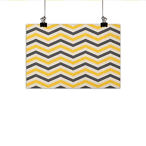 Littletonhome Yellow Chevron Light Luxury American Oil Painting Large Zigzags in Retro Design Geometrical Horizontal Tile Home and Everything 24