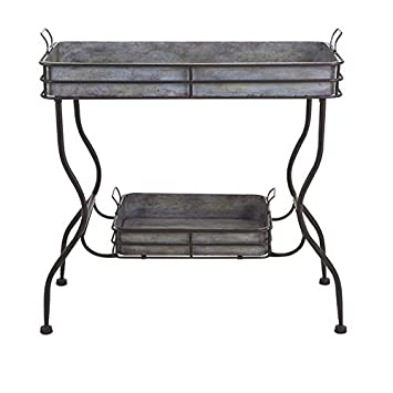 IMAX 65361 Maggie Galvanized Tray Table – Unique Accent Table for Garden, Patio, Porches, Metal Organizer with Two Trays. Accent Furniture