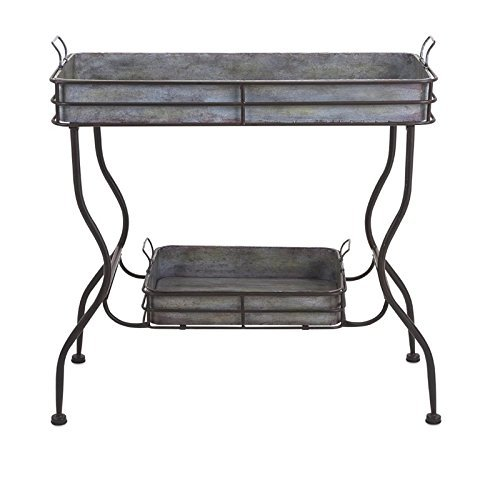 IMAX Maggie Galvanized Tray Table – Unique Accent Table for Garden, Patio, Porches, Metal Organizer with Two Trays. Accent Furniture
