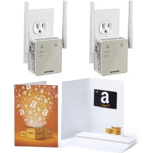 2-Pack of Netgear AC1200 WiFi Range Extender - Essentials Edition (EX6120-100NAS) & 1 $20 Amazon.com Gift Card by NETGEAR