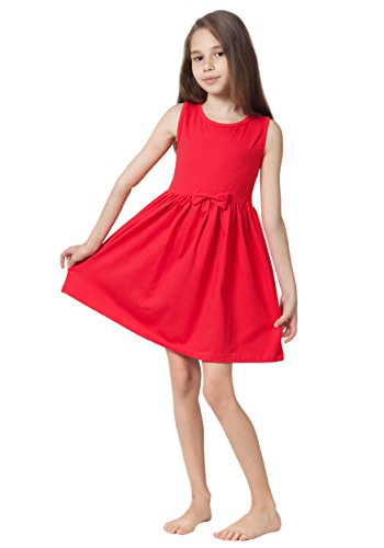 Caomp Girls Casual Sleeveless Swing Dress, Organic Cotton, Spandex, Scoop Neck, Tagless Red 9/10 for $<!--$17.99-->