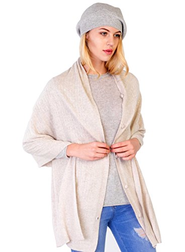 cashmere 4 U Women's 100% Cashmere Wrap Multi Use Shawl Extra Large Button Scarf by cashmere 4 U