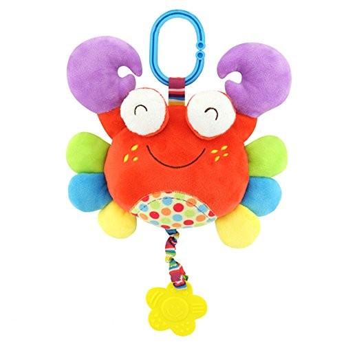 Baby Teether Toys Hanging Stroller Plush Toys Hanging Bed Spiral Activity Cartoon Teether Plush Toy (C: crab)